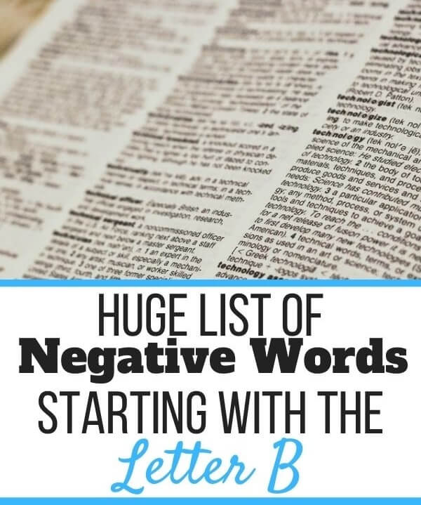 Negative Words Starting With B
