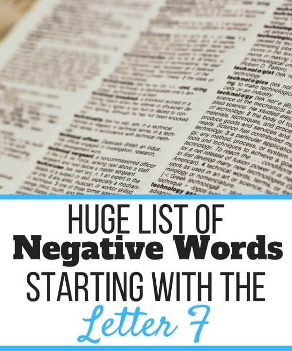 Negative Words Starting With F