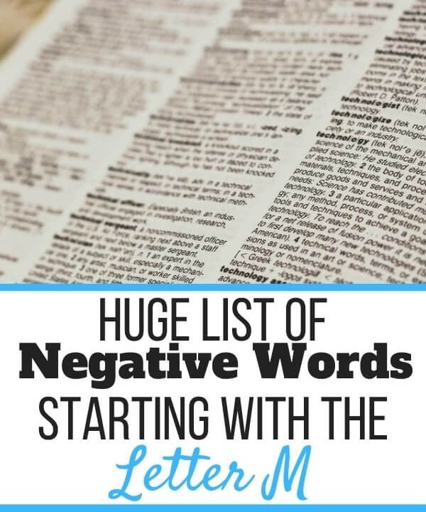 Negative Words Starting With M