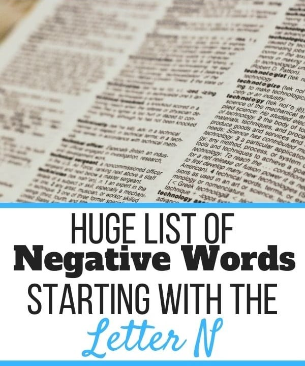 Negative Words Starting With N
