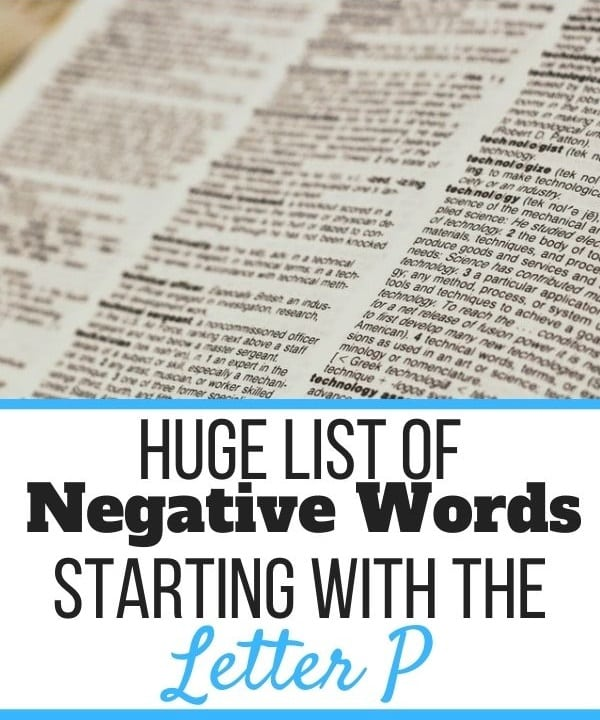 Negative Words Starting With P