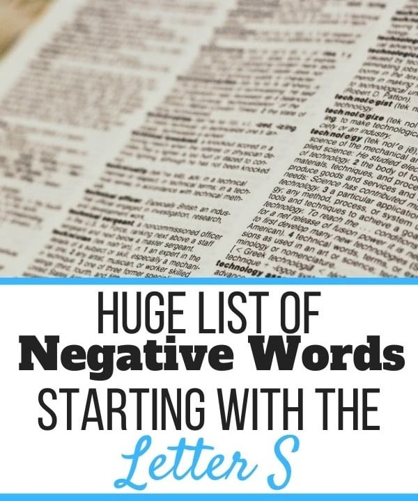 Negative Words Starting With S