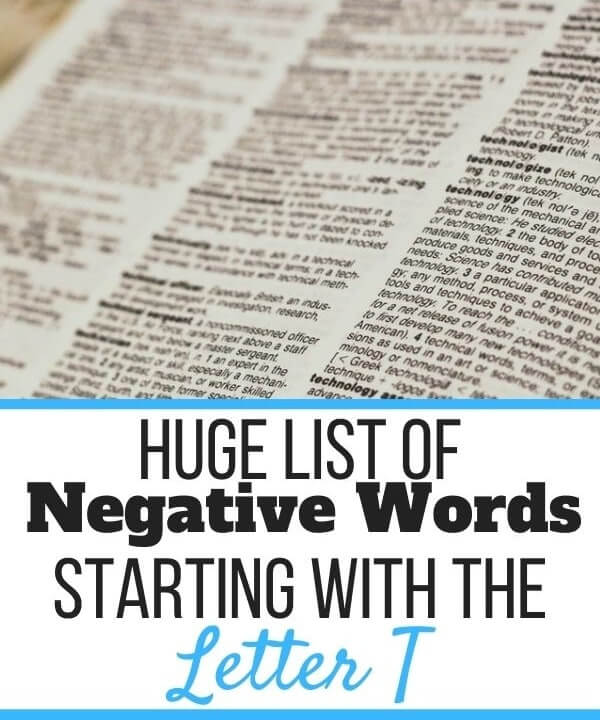Negative Words Starting With T